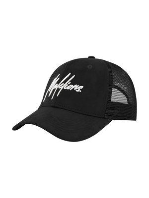 Malelions Cap  Signature - Black/White Suede