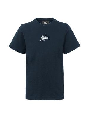 Malelions Junior Junior T-shirt Small Signature - Navy/White