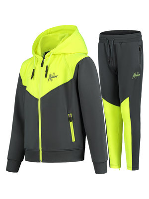 Malelions Junior Junior Sport V Tracksuit - Antraciet/Neon Yellow