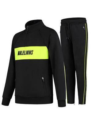 Malelions Junior Junior Sport Uraenium Tracksuit - Black/Neon Yellow