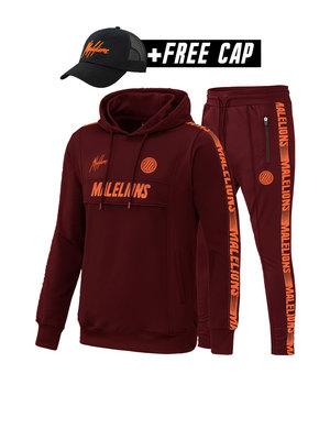 Malelions Sport Sport Tracksuit Warming Up - Bordeaux/Koraal (+FREE CAP)