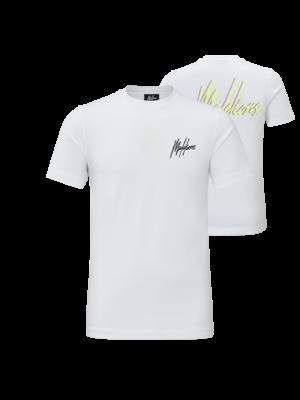Malelions T-shirt Signature 2.0 - White/Neon Yellow