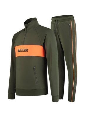 Malelions Sport Sport Uraenium Tracksuit - Army/Neon Orange