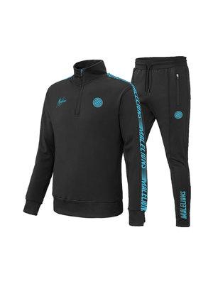 Malelions Sport Sport Quarterzip Tracksuit - Black/Blue