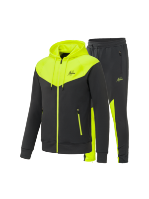 Malelions Sport Sport V-Tracksuit - Antraciet/Neon Yellow (+FREE CAP)