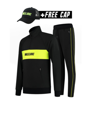 Malelions Sport Sport Uraenium Tracksuit - Black/Neon Yellow (+FREE CAP)