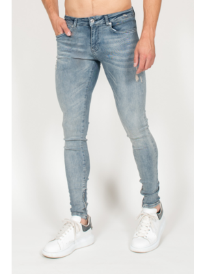 Malelions Jeans Damaged Washed - Blue