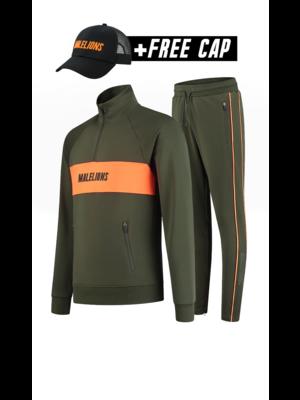 Malelions Sport Sport Uraenium Tracksuit - Army/Neon Orange (+FREE CAP)