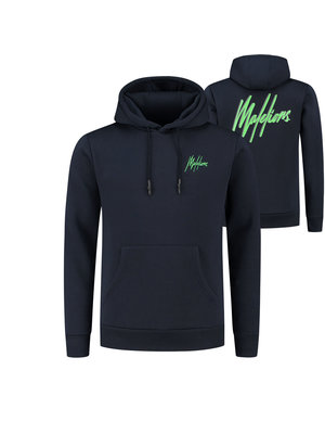 Malelions Double Signature Hoodie - Navy/Neon Green