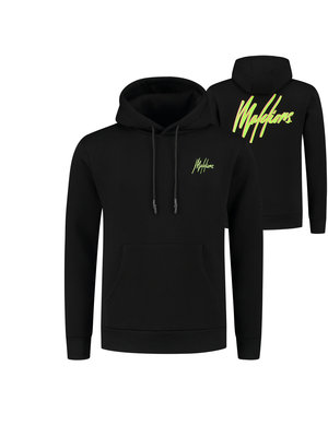 Malelions Double Signature Hoodie - Black/Neon Yellow