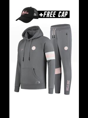 Malelions Sport Sport Captain Tracksuit - Matte Grey/Pink (+FREE CAP)