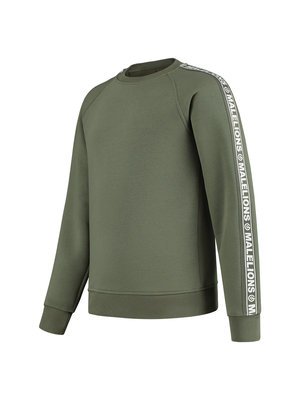 Malelions Junior Junior Crewneck Logo Tape - Army