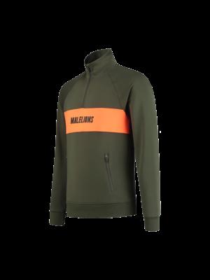 Malelions Sport Sport Uraenium Quarterzip - Army/Neon Orange