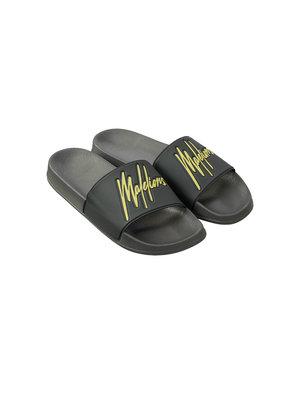 Malelions Slides - Matt Grey/Neon Yellow