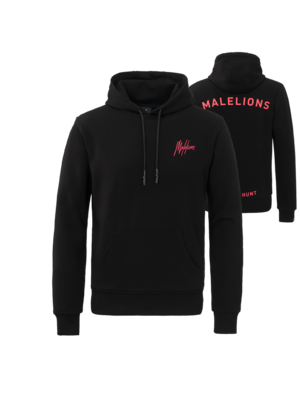 Malelions Firat Hoodie - Black/Neon Red