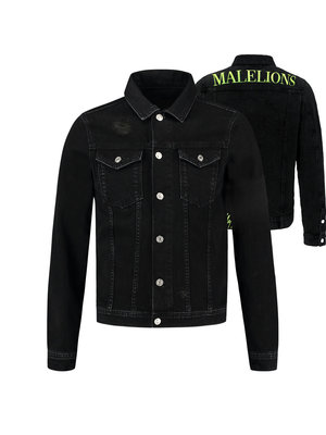 Malelions Vinegar Denim Jacket - Black/Neon Yellow