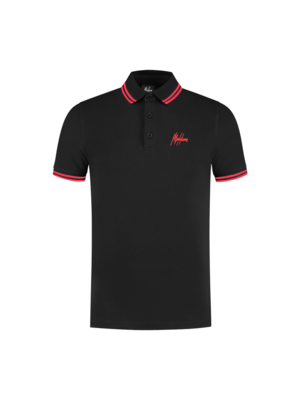 Malelions Din Polo - Black/Neon Red