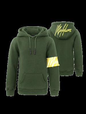 Malelions Junior Junior Captain Hoodie - Army/Yellow