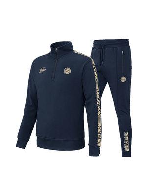 Malelions Sport Sport Quarterzip Tracksuit - Navy/Gold