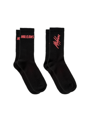 Malelions Socks 2-pack - Black/Neon Red