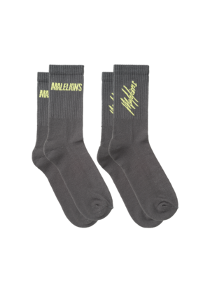 Malelions Socks 2-pack - Matt Grey/Neon Yellow
