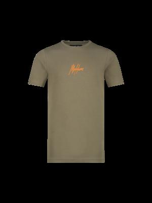 Malelions Junior Junior Double Signature T-Shirt - Army/Orange