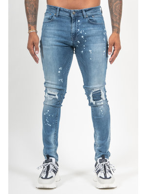 Malelions Ripped & Repaired Jeans - Light Blue
