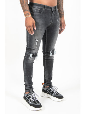 Malelions Men Ripped & Repaired Jeans - Black