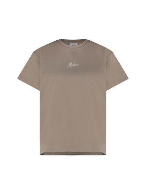 Malelions Women Women Brand T-Shirt - Taupe/White