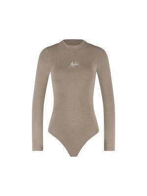 Malelions Women Women Bodysuit - Taupe/White