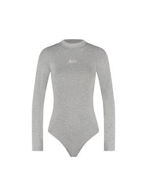 Malelions Women Women Bodysuit - Grey Melange/Off-White