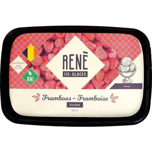Rene's ijs Framboos Sorbetijs Biologisch