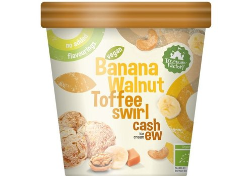 Ice Cream Factory Banana Walnut Toffee Swirl Cashew IJs Biologisch