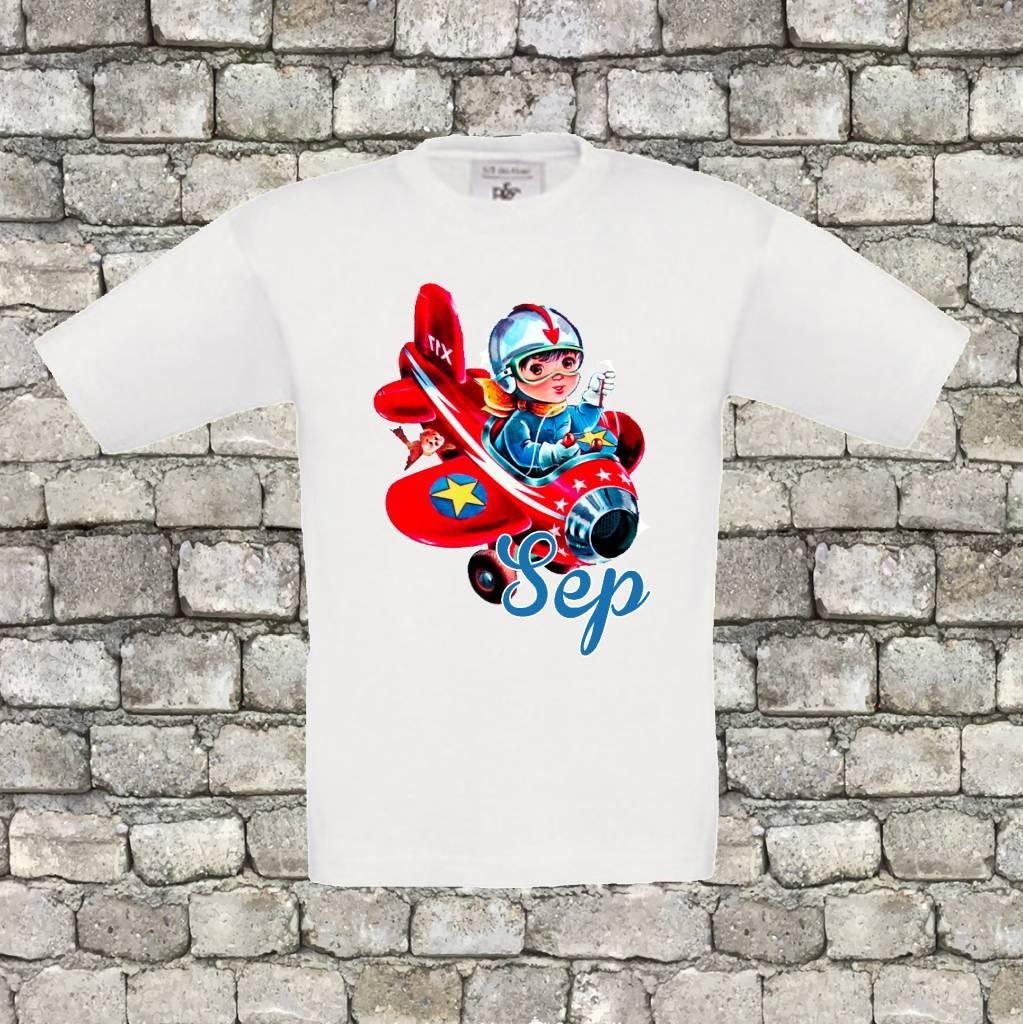 T-shirt vliegtuig met naam - geen verzendkosten