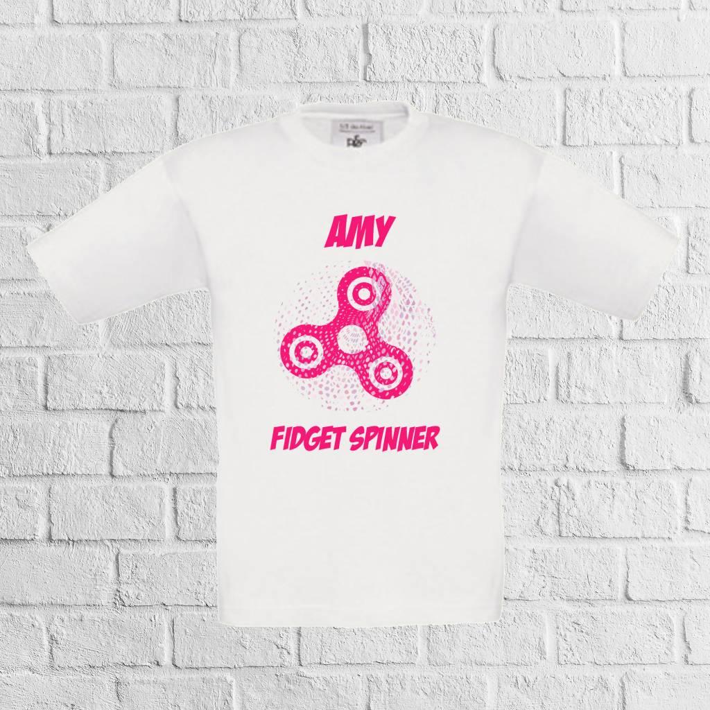 Fidget spinner dots t-shirt met naam roze - geen verzendkosten