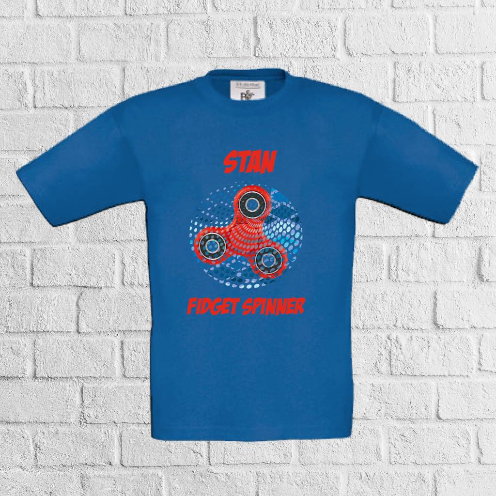 Fidget spinner dots t-shirt met naam - rood - geen verzendkosten
