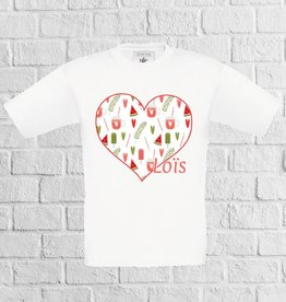 Meloen ijs hartjes t-shirt met naam