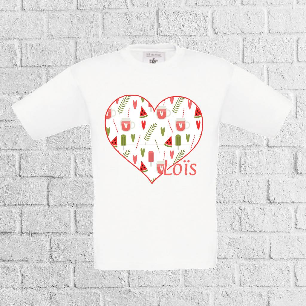 Meloen ijs hartjes t-shirt met naam  - geen verzendkosten