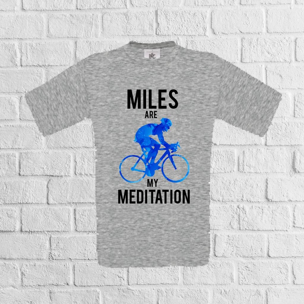 Miles are my meditation fiets t-shirt grijs - geen verzendkosten