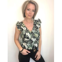 BLOUSE BLACK FLOWERS