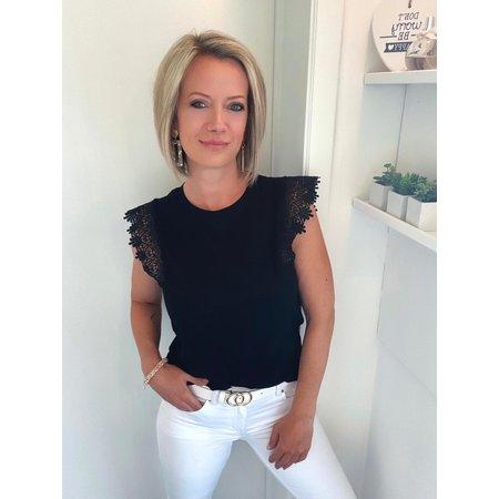 EMMA T-SHIRT ZWART KANT