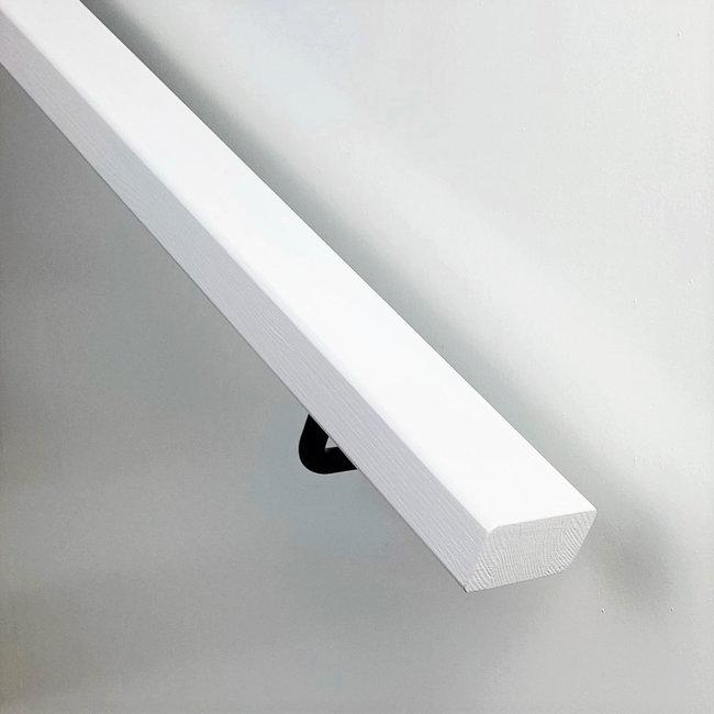 Houten trapleuning rechthoekig: Hardhout - Wit