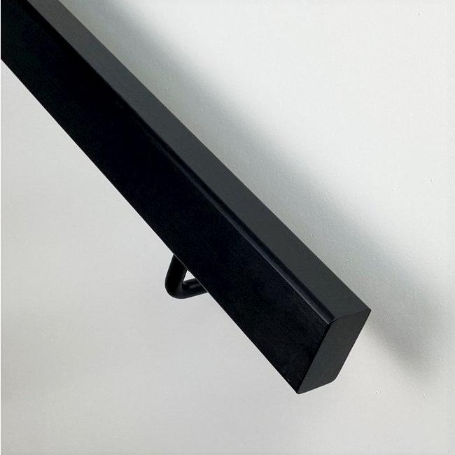 Houten trapleuning rechthoekig: Hardhout - Zwart