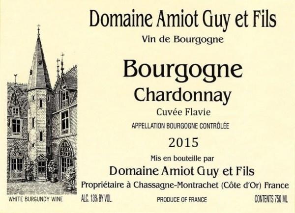 Domaine Guy Amiot et Fils Chardonnay, Cuvée Flavie 2019-2