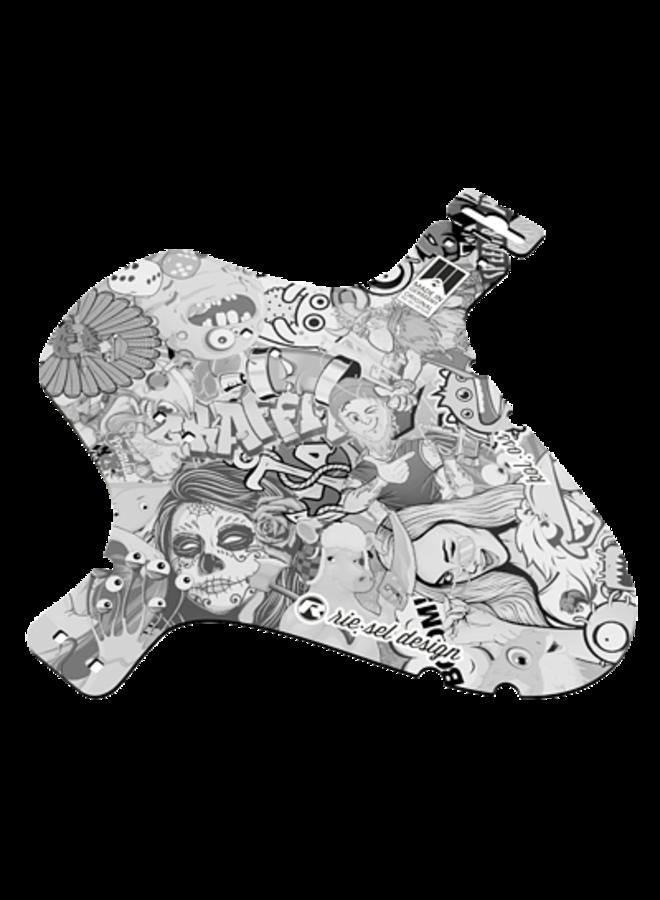 Parafango anteriore fascette mudguard comics black and white