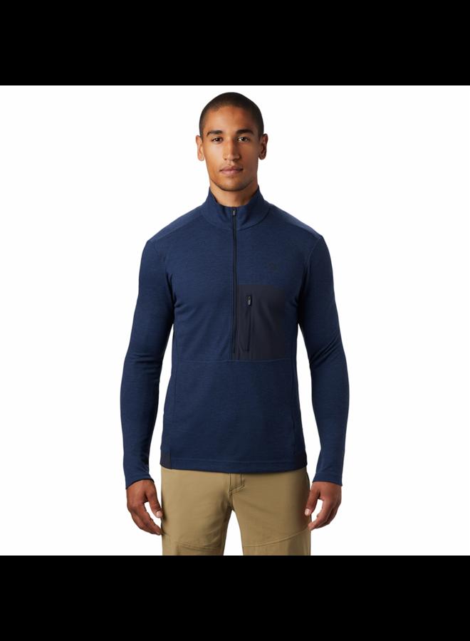 Mountain Hardwear - Maglia 1/2 zip  blu tgl M