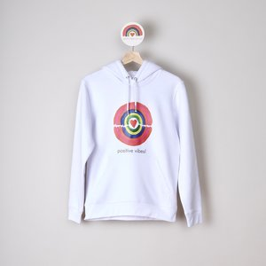 Hoodie unisex white positive vibes