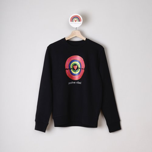 sweater unisex zwart positive vibes