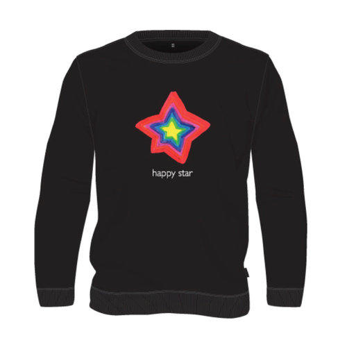 sweater black happy star