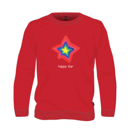 sweater red happy star